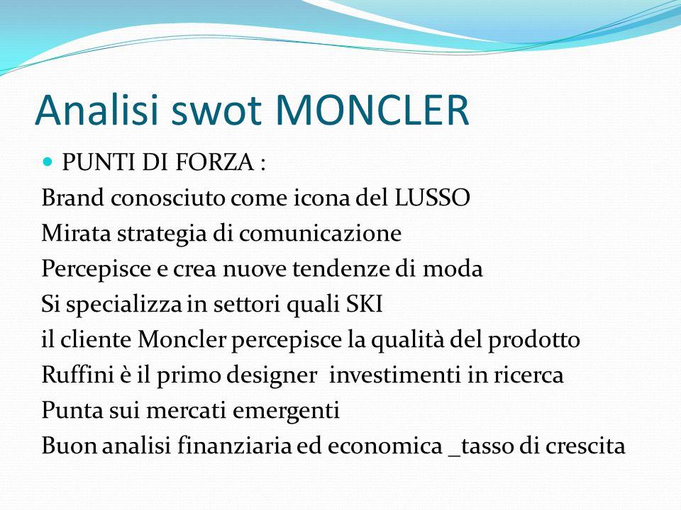 Analisi swot MONCLER PUNTI DI FORZA :