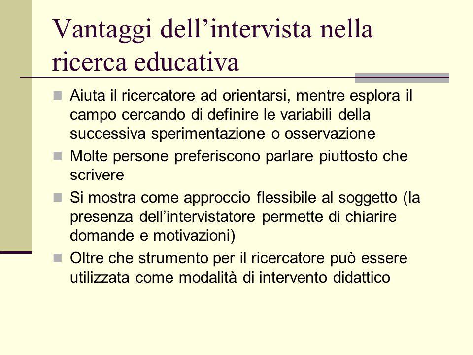 Vantaggi dell'intervista nella ricerca educativa