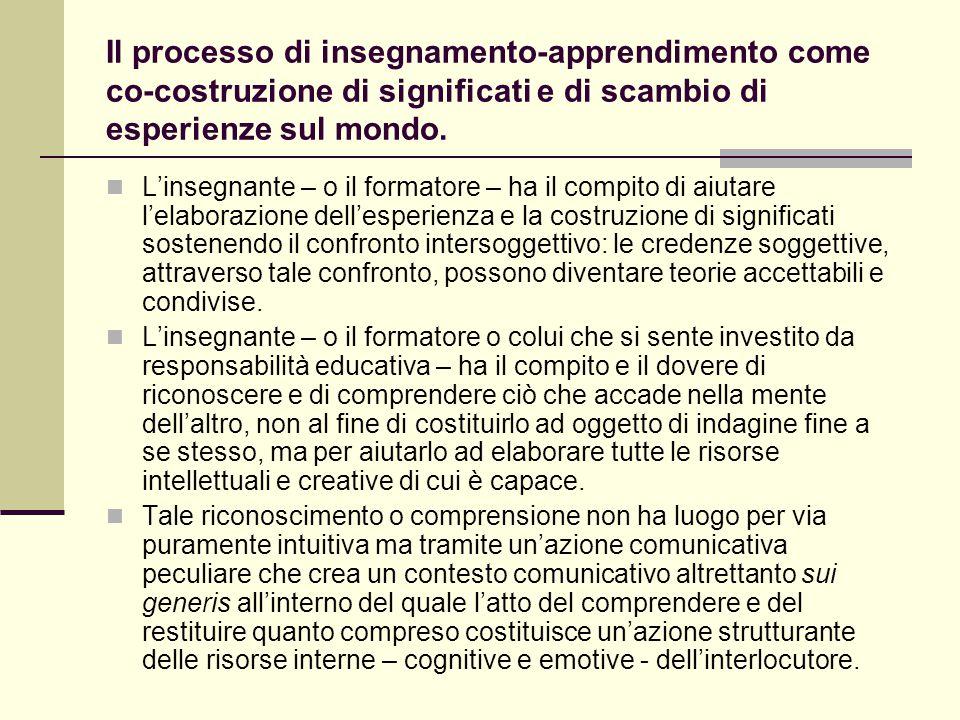Il processo di insegnamento-apprendimento come co-costruzione di significati e di scambio di esperienze sul mondo.