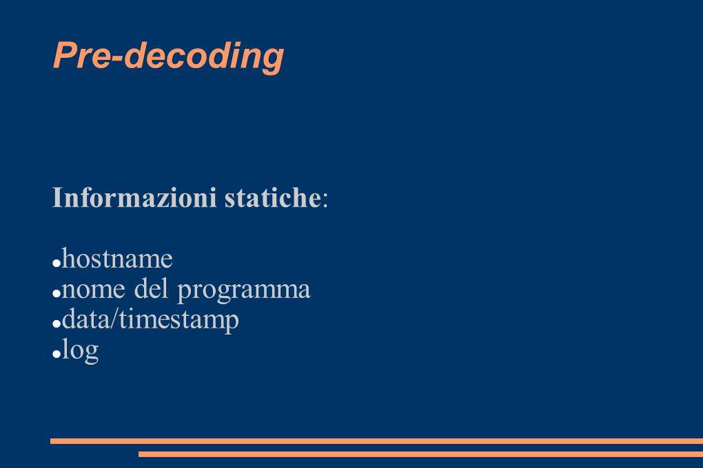 Informazioni statiche: hostname nome del programma data/timestamp log