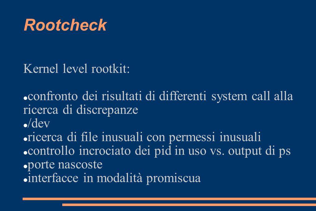 Rootcheck Kernel level rootkit: