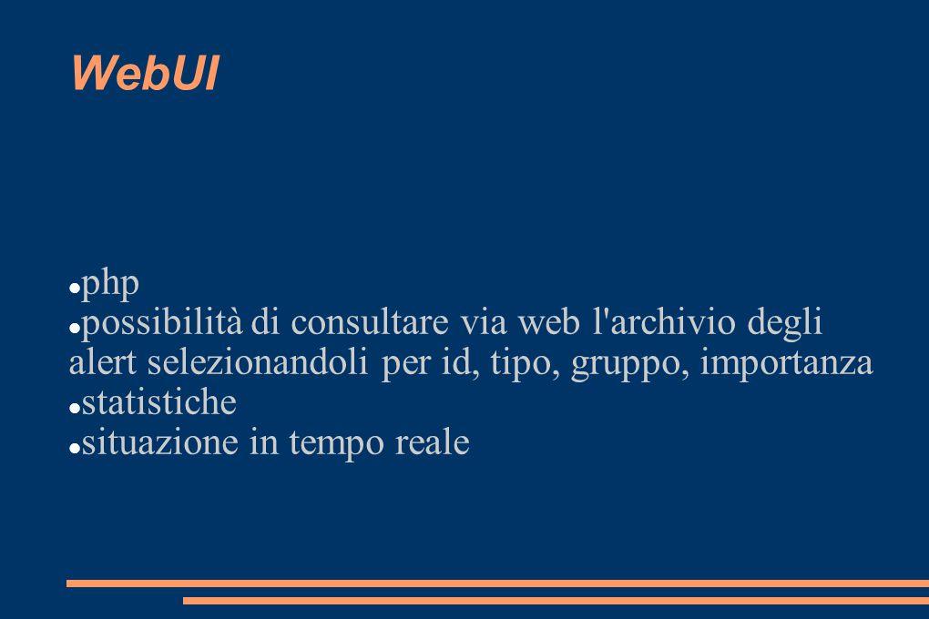 WebUI php. possibilità di consultare via web l archivio degli alert selezionandoli per id, tipo, gruppo, importanza.