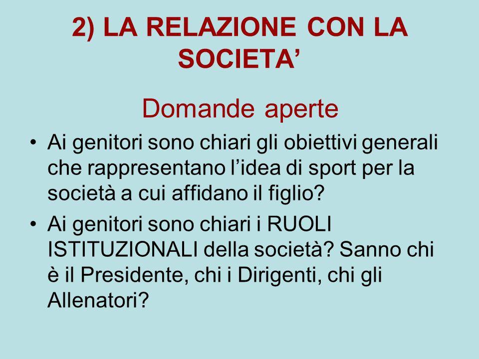 2) LA RELAZIONE CON LA SOCIETA'