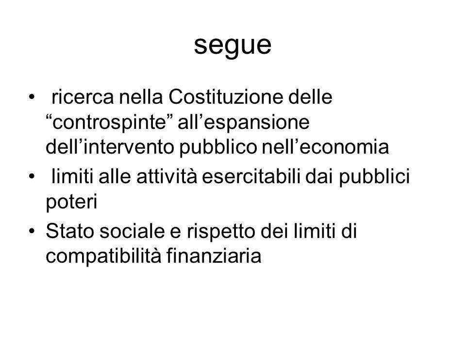 segue ricerca nella Costituzione delle controspinte all'espansione dell'intervento pubblico nell'economia.