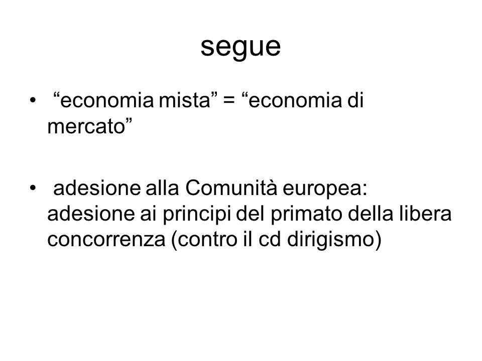 segue economia mista = economia di mercato