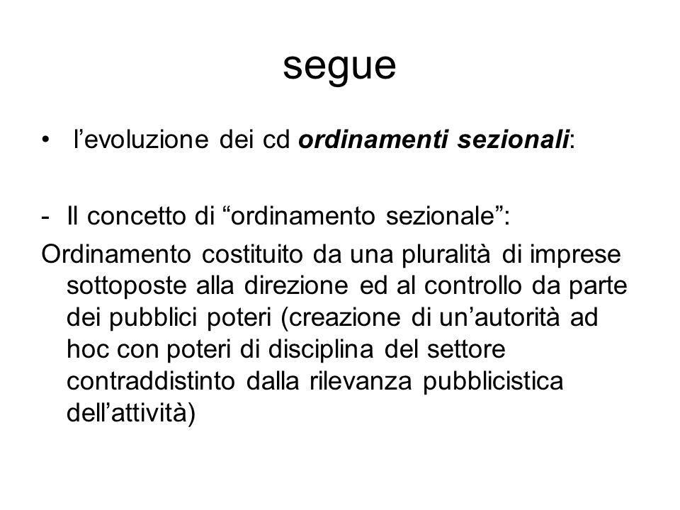 segue l'evoluzione dei cd ordinamenti sezionali:
