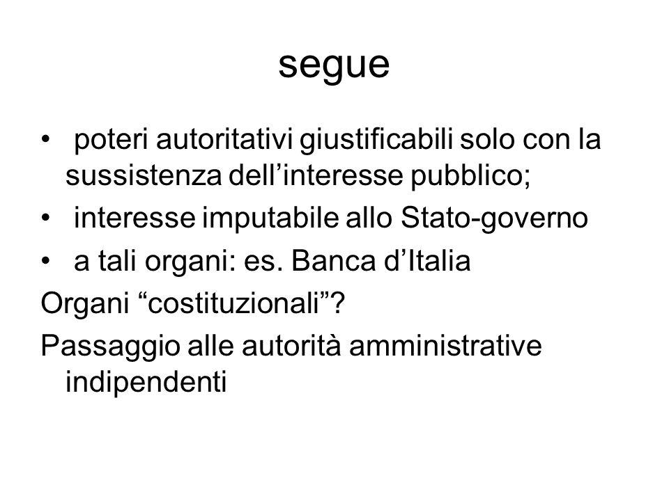 segue poteri autoritativi giustificabili solo con la sussistenza dell'interesse pubblico; interesse imputabile allo Stato-governo.