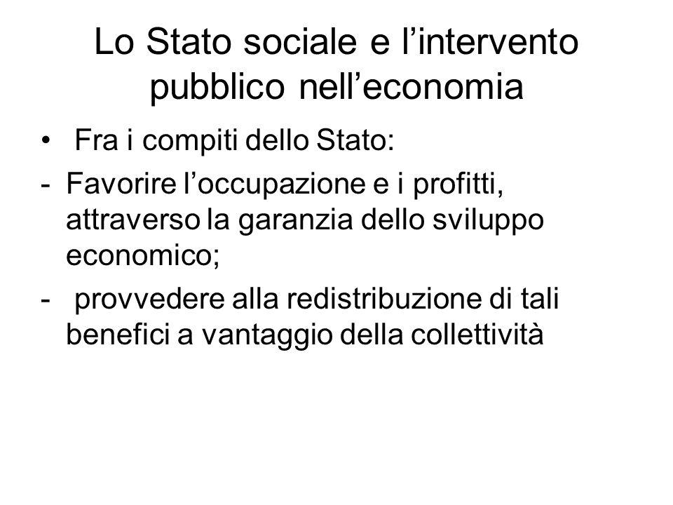 Lo Stato sociale e l'intervento pubblico nell'economia