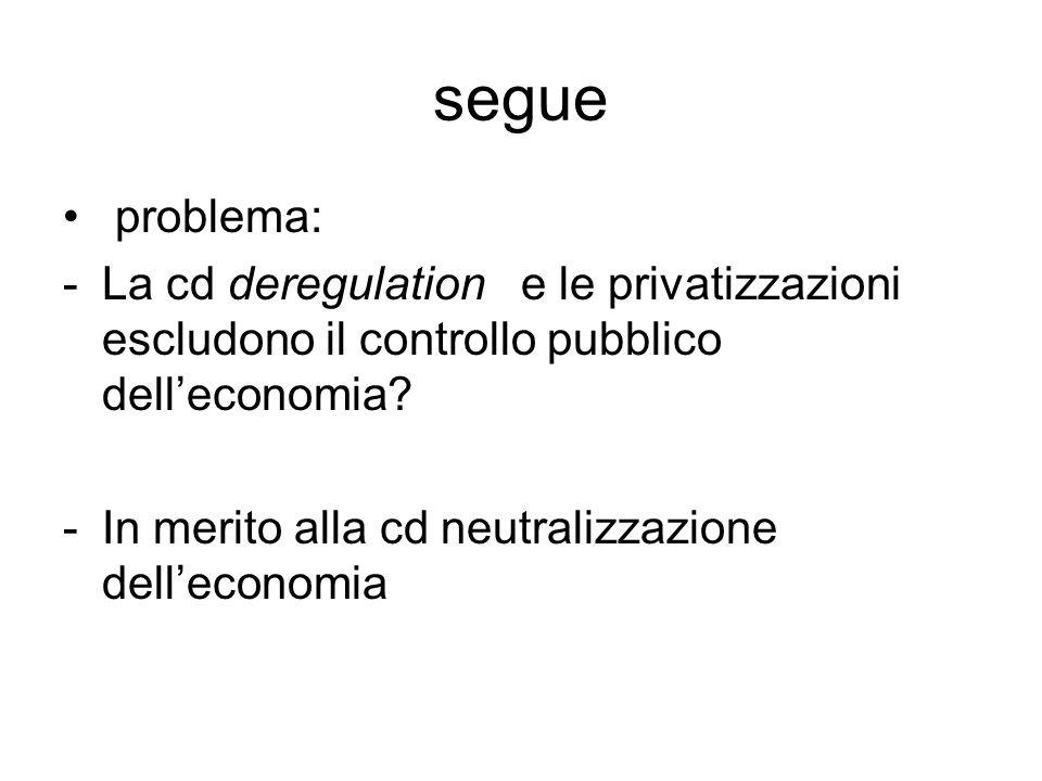 segue problema: La cd deregulation e le privatizzazioni escludono il controllo pubblico dell'economia