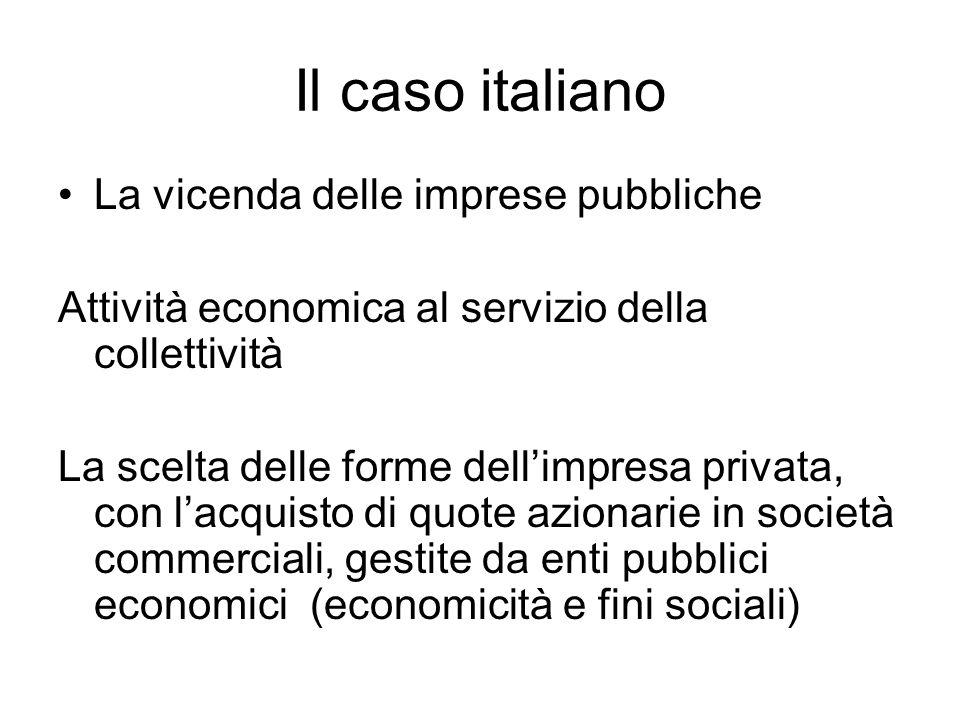 Il caso italiano La vicenda delle imprese pubbliche