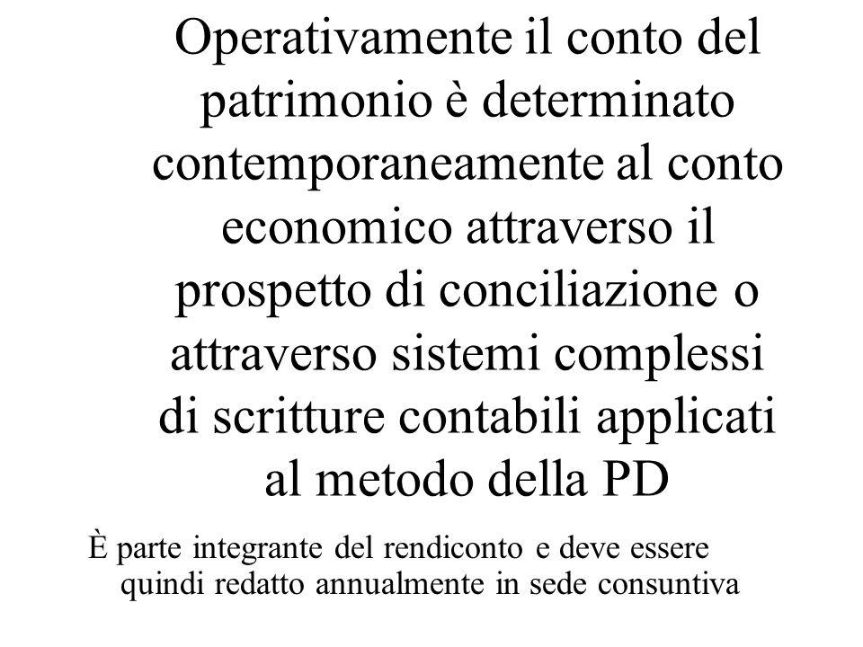 Operativamente il conto del patrimonio è determinato contemporaneamente al conto economico attraverso il prospetto di conciliazione o attraverso sistemi complessi di scritture contabili applicati al metodo della PD