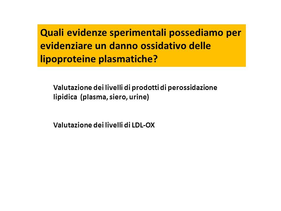 Quali evidenze sperimentali possediamo per evidenziare un danno ossidativo delle lipoproteine plasmatiche