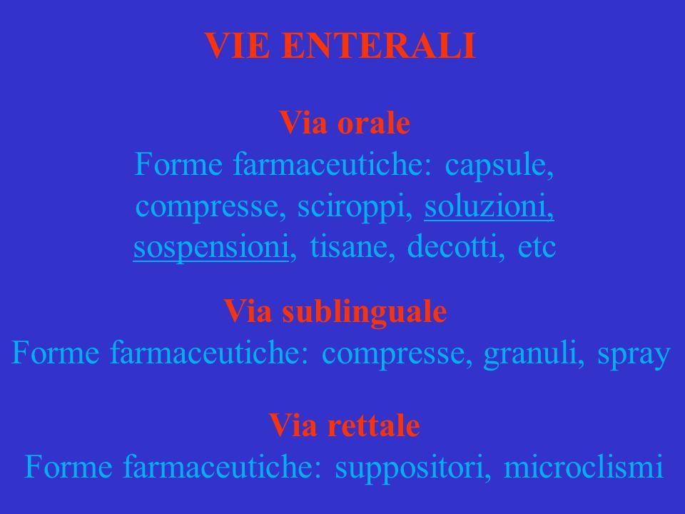 VIE ENTERALI Via orale. Forme farmaceutiche: capsule, compresse, sciroppi, soluzioni, sospensioni, tisane, decotti, etc.
