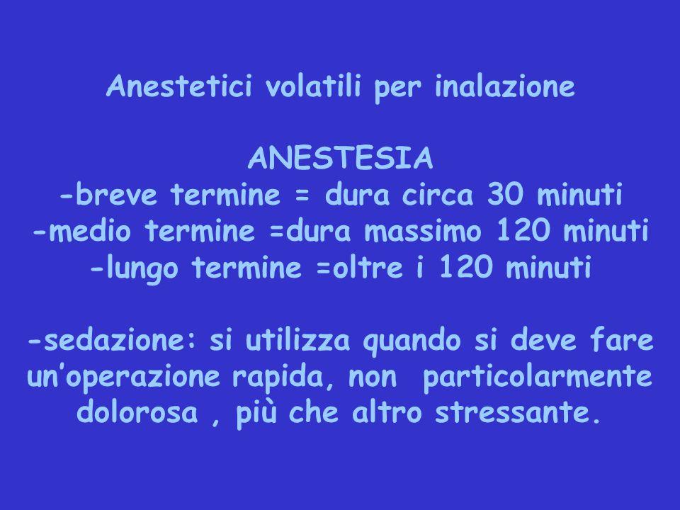 Anestetici volatili per inalazione ANESTESIA