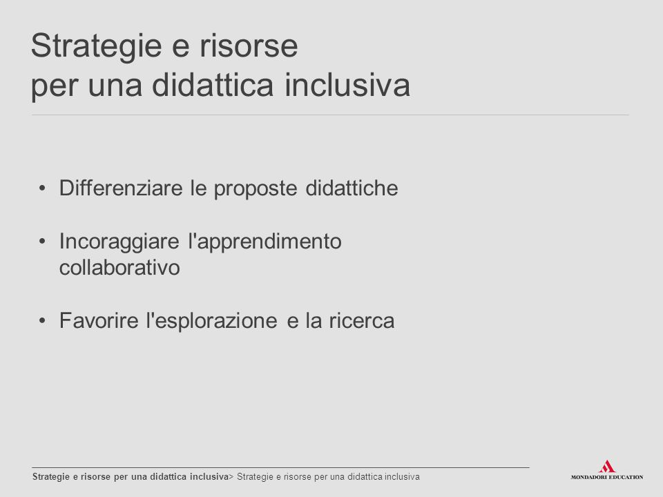 Strategie e risorse per una didattica inclusiva