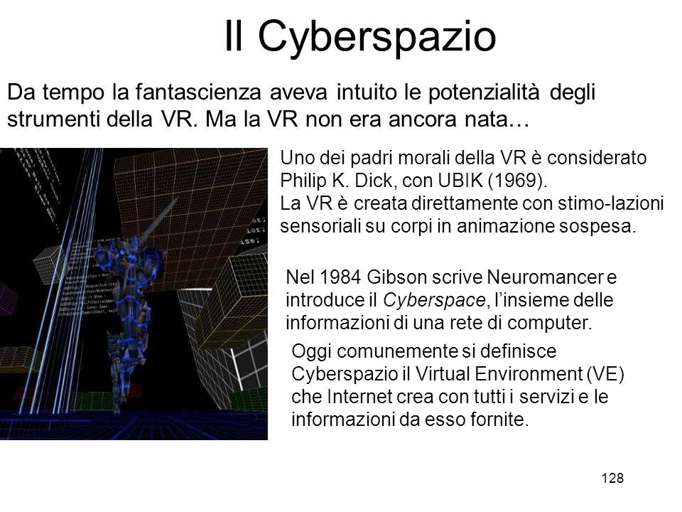 Il Cyberspazio Da tempo la fantascienza aveva intuito le potenzialità degli strumenti della VR. Ma la VR non era ancora nata…