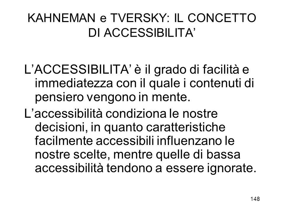 KAHNEMAN e TVERSKY: IL CONCETTO DI ACCESSIBILITA'