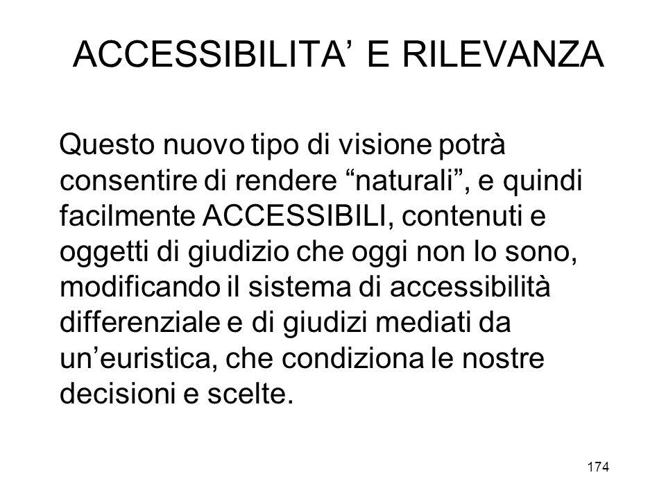 ACCESSIBILITA' E RILEVANZA
