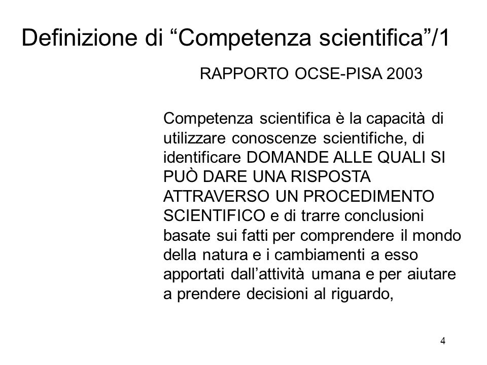 Definizione di Competenza scientifica /1