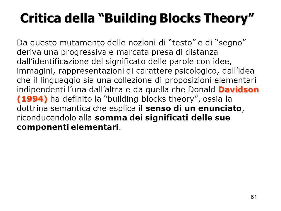 Critica della Building Blocks Theory