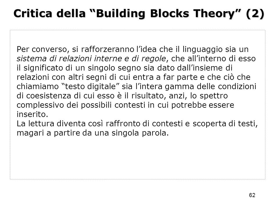Critica della Building Blocks Theory (2)