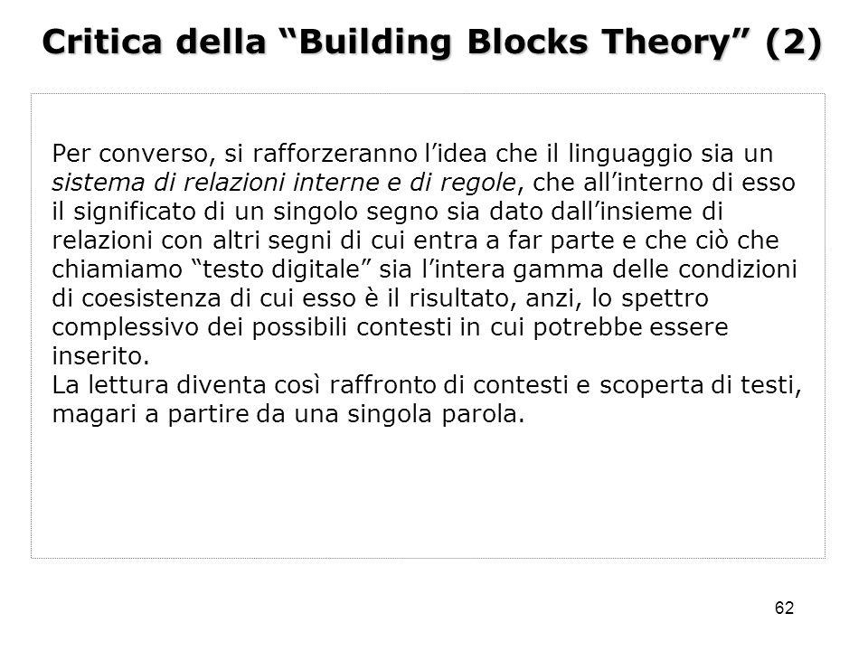 Critica della Building Blocks Theory (2)