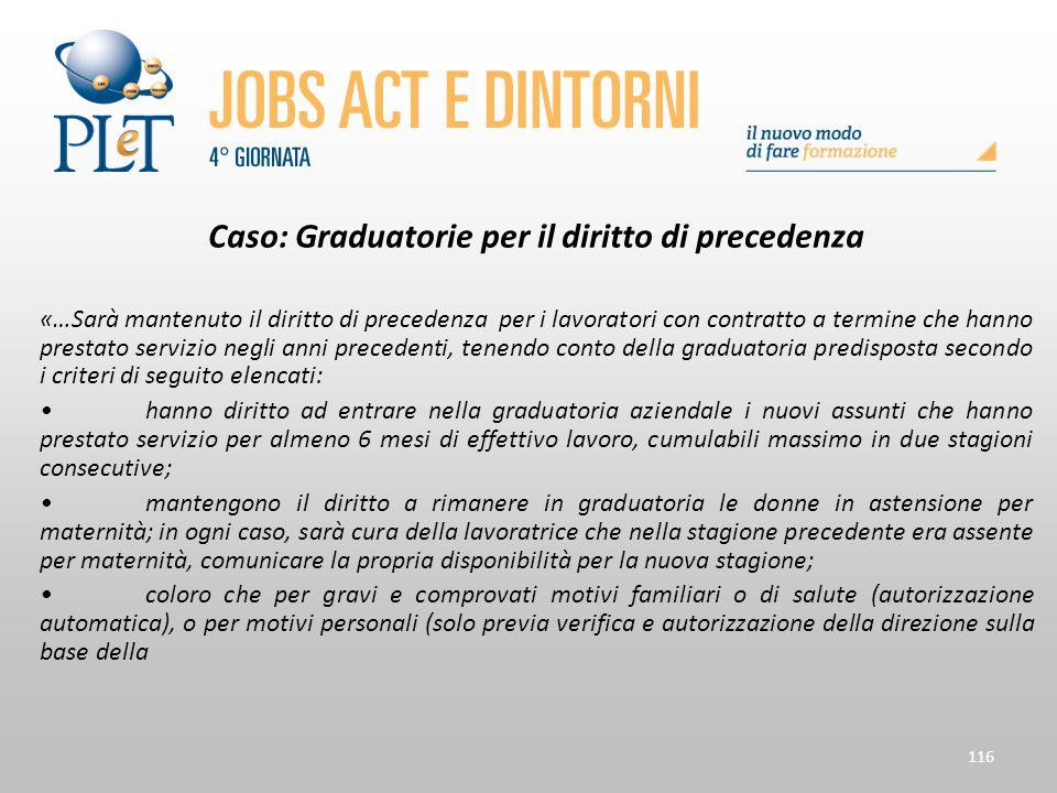Caso: Graduatorie per il diritto di precedenza