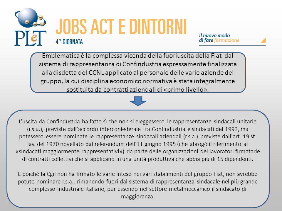 Emblematica è la complessa vicenda della fuoriuscita della Fiat dal sistema di rappresentanza di Confindustria espressamente finalizzata alla disdetta del CCNL applicato al personale delle varie aziende del gruppo, la cui disciplina economico normativa è stata integralmente sostituita da contratti aziendali di «primo livello».
