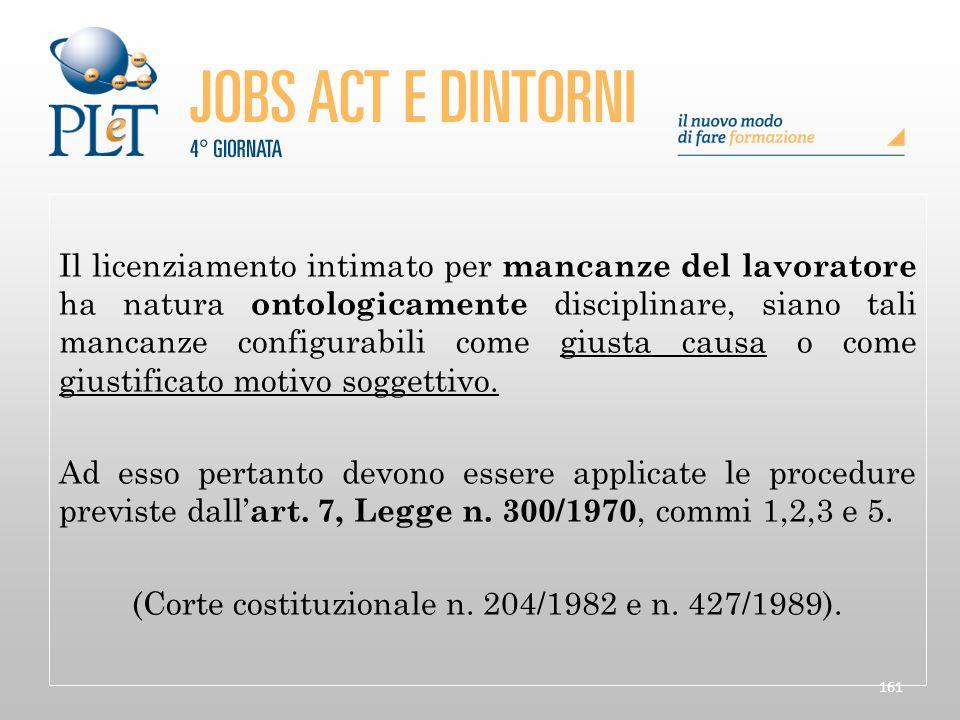 (Corte costituzionale n. 204/1982 e n. 427/1989).
