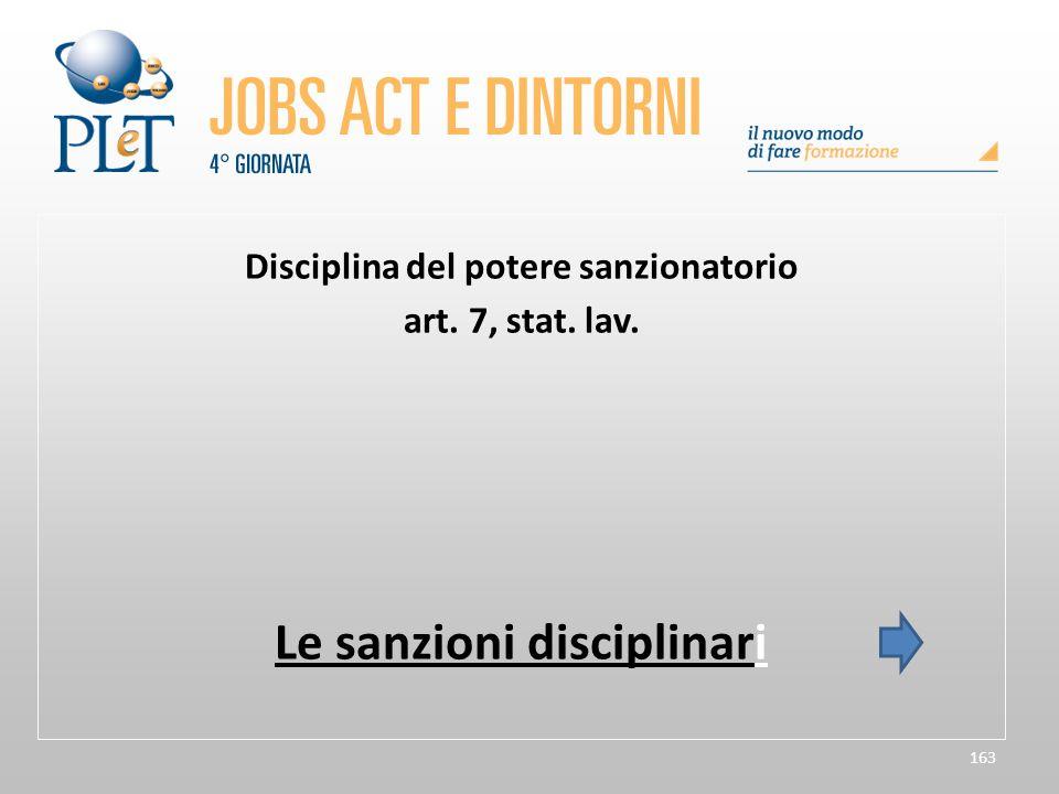 Disciplina del potere sanzionatorio Le sanzioni disciplinari