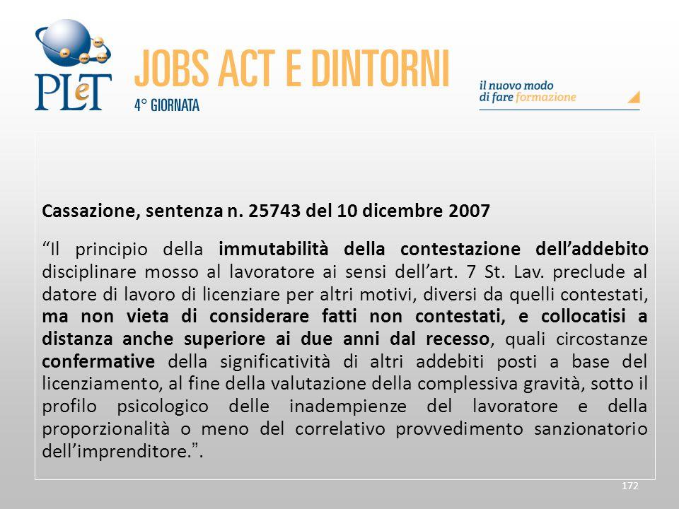 Cassazione, sentenza n. 25743 del 10 dicembre 2007