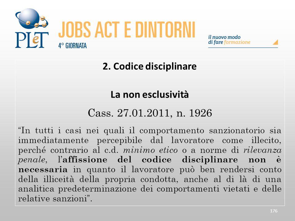 2. Codice disciplinare La non esclusività