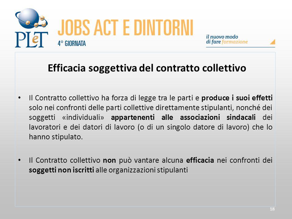 Efficacia soggettiva del contratto collettivo