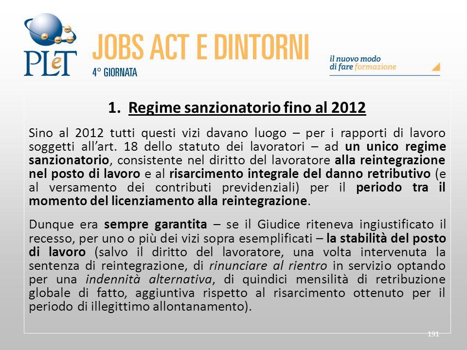 1. Regime sanzionatorio fino al 2012
