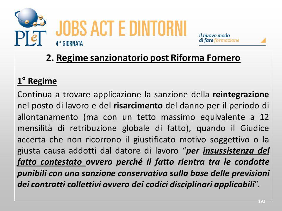 2. Regime sanzionatorio post Riforma Fornero