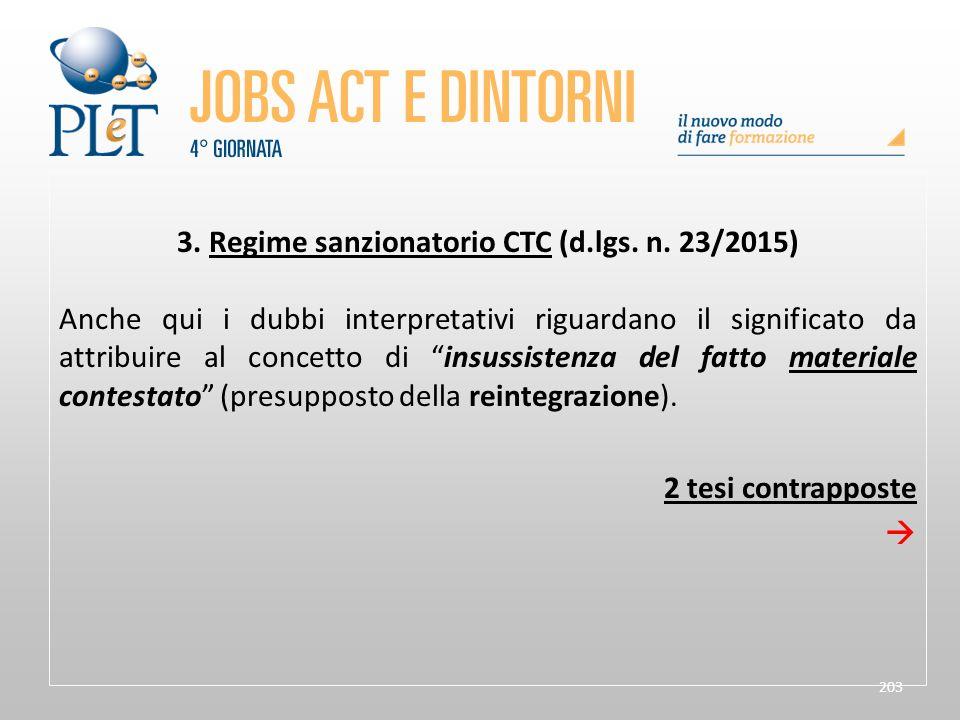 3. Regime sanzionatorio CTC (d.lgs. n. 23/2015)