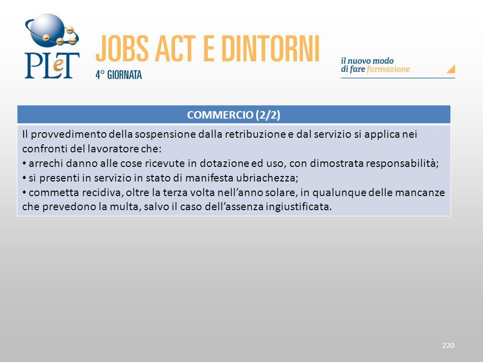 COMMERCIO (2/2) Il provvedimento della sospensione dalla retribuzione e dal servizio si applica nei confronti del lavoratore che: