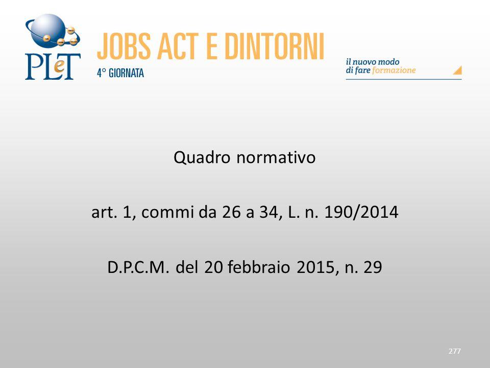Quadro normativo art. 1, commi da 26 a 34, L. n. 190/2014 D.P.C.M. del 20 febbraio 2015, n. 29
