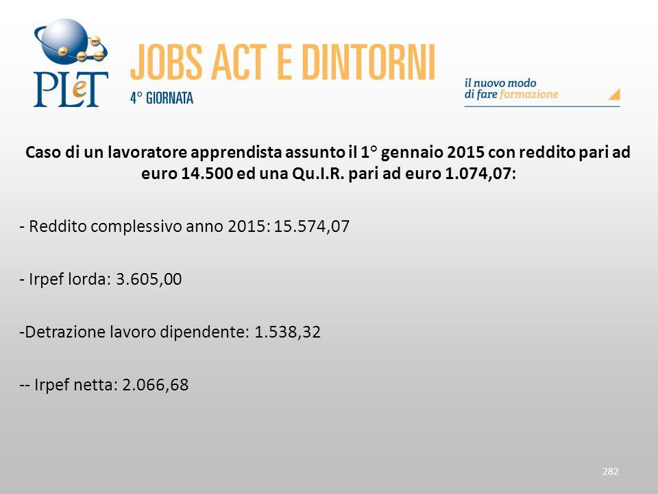 Caso di un lavoratore apprendista assunto il 1° gennaio 2015 con reddito pari ad euro 14.500 ed una Qu.I.R. pari ad euro 1.074,07: