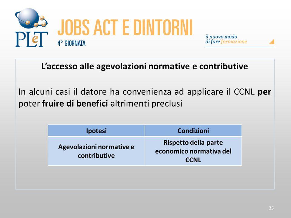 L'accesso alle agevolazioni normative e contributive