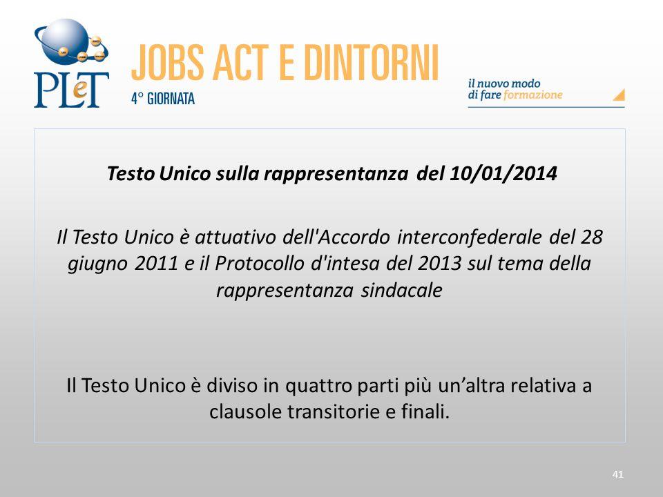 Testo Unico sulla rappresentanza del 10/01/2014