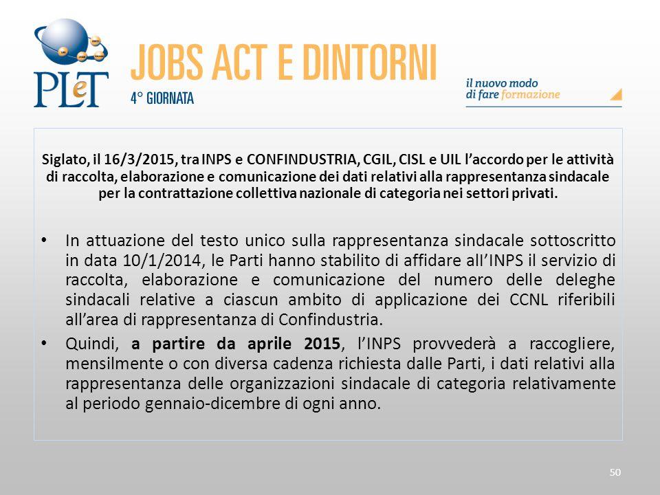 Siglato, il 16/3/2015, tra INPS e CONFINDUSTRIA, CGIL, CISL e UIL l'accordo per le attività di raccolta, elaborazione e comunicazione dei dati relativi alla rappresentanza sindacale per la contrattazione collettiva nazionale di categoria nei settori privati.