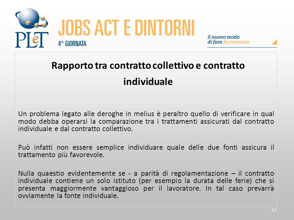 Rapporto tra contratto collettivo e contratto