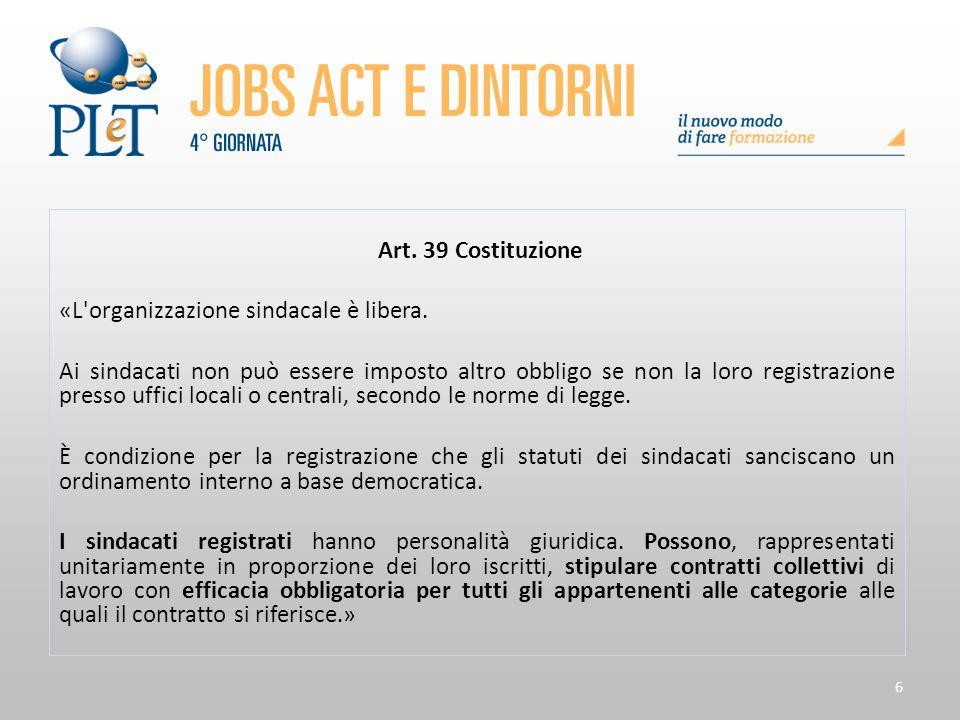 Art. 39 Costituzione «L organizzazione sindacale è libera.