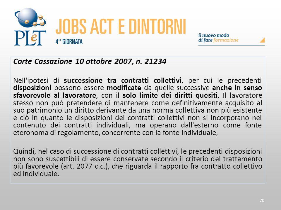 Corte Cassazione 10 ottobre 2007, n. 21234