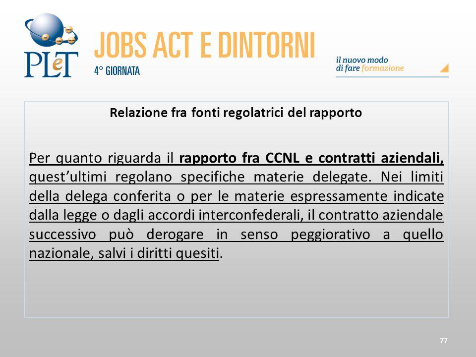 Relazione fra fonti regolatrici del rapporto
