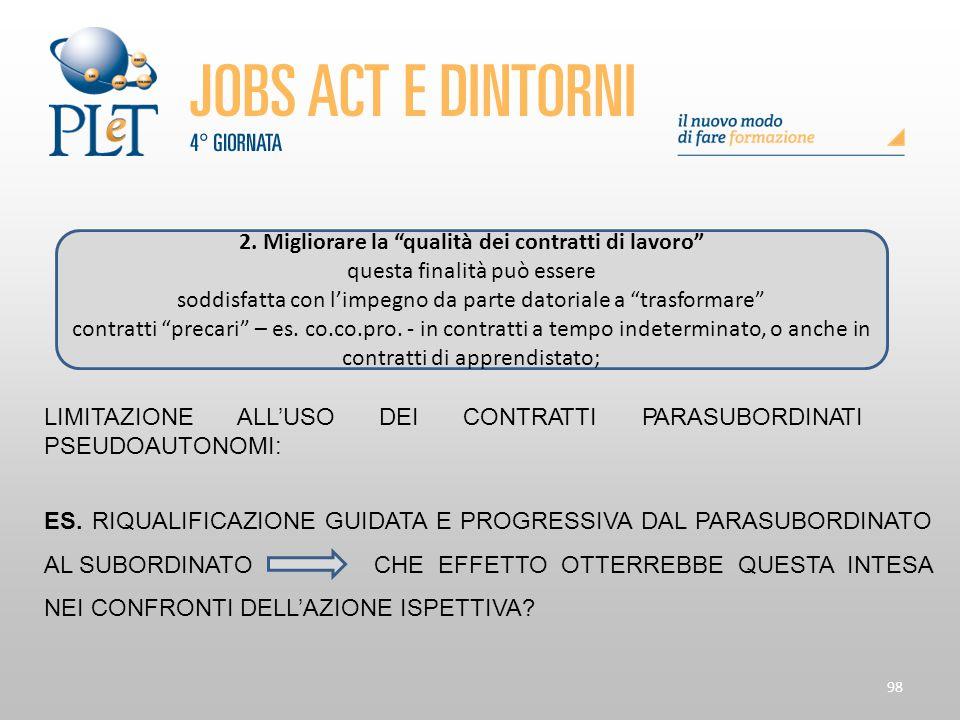 2. Migliorare la qualità dei contratti di lavoro