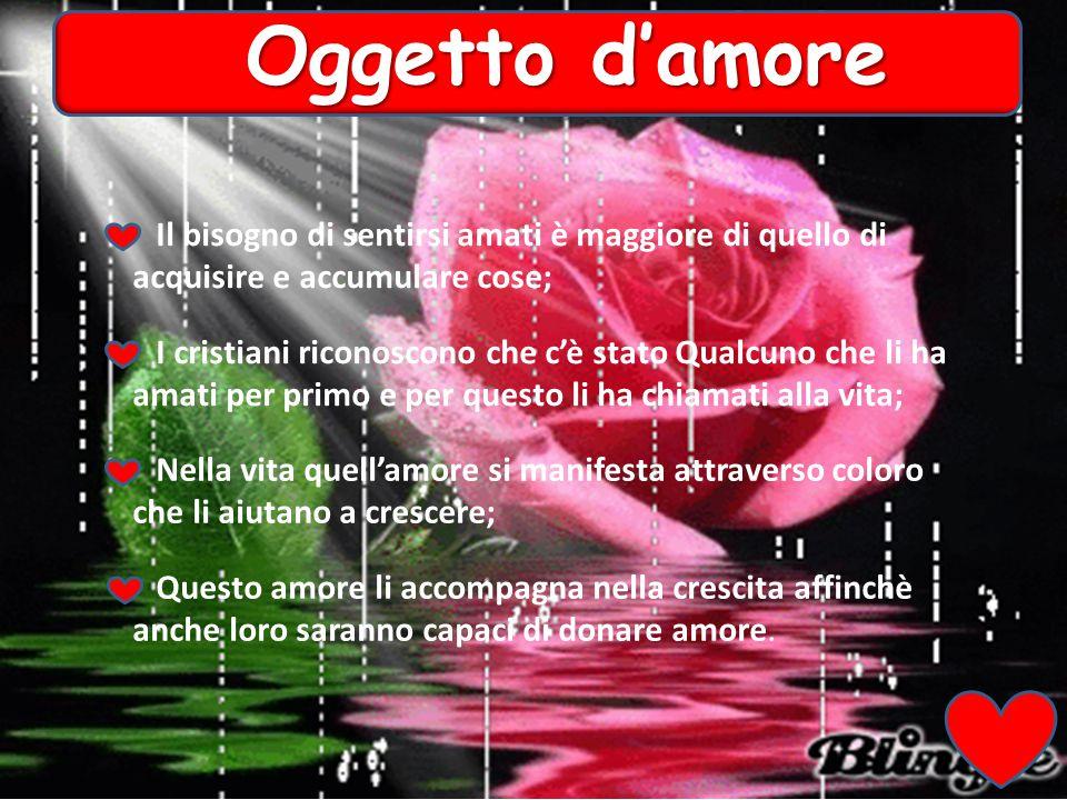 Oggetto d'amore Il bisogno di sentirsi amati è maggiore di quello di acquisire e accumulare cose;