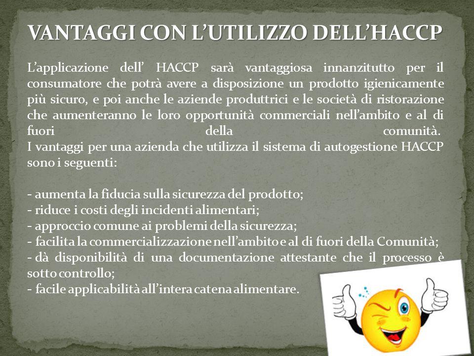 VANTAGGI CON L'UTILIZZO DELL'HACCP