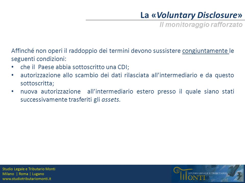 La «Voluntary Disclosure»
